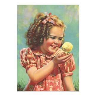 Menina feliz do vintage com festa de aniversário convites personalizado
