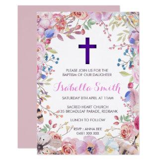 Menina floral roxa do convite de /Christening do