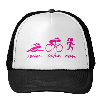 Menina funcionada bicicleta da natação tri boné