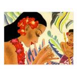 Menina havaiana cartão postal