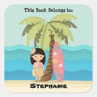 Menina havaiana do surfista adesivo quadrado