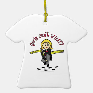 Menina loura de CSI Ornamento De Cerâmica Camiseta