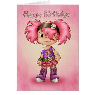 Menina moderna do punk do cartão de aniversário -