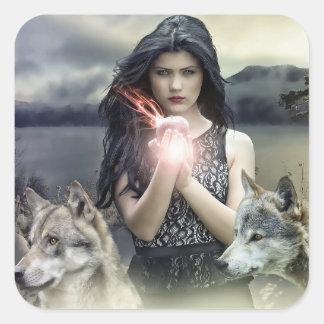 Menina Mystical com etiquetas da bola de cristal &