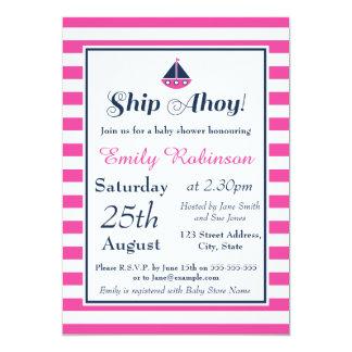 Menina náutica do convite do chá de fraldas, navio