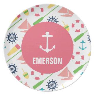 Menina náutica personalizada da melamina da âncora prato de festa