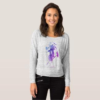 """Menina"" no cinza/longsleeve abstratos da camisa"