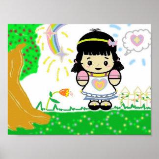 Menina no poster do jardim