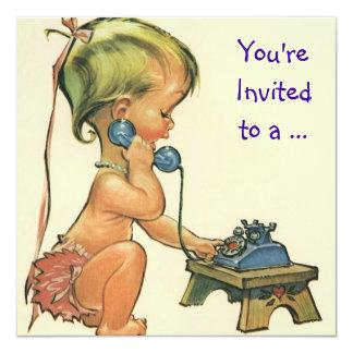 Menina no telefone, festa de aniversário do convite personalizado