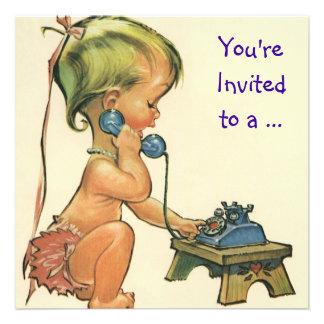 Menina no telefone festa de aniversário do vintag convite personalizado