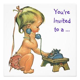 Menina no telefone, festa de aniversário do vintag convite personalizado