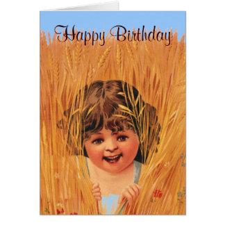 Menina no trigo, feliz aniversario cartão comemorativo