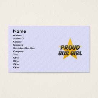 Menina orgulhosa do ônibus cartão de visitas