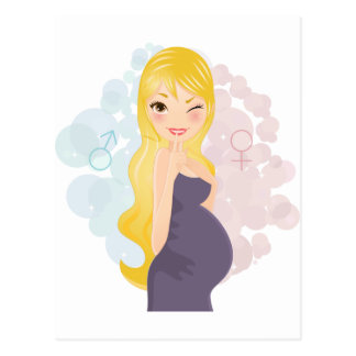 Menina ou menino grávido cartão postal