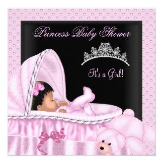 Menina pequena da princesa chá de fraldas do afro- convites