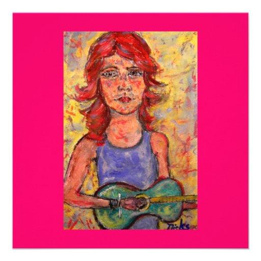 menina popular que joga a guitarra colorida convites