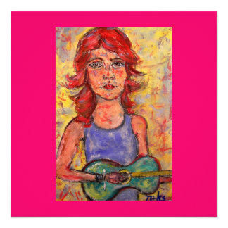menina popular que joga a guitarra colorida convite quadrado 13.35 x 13.35cm