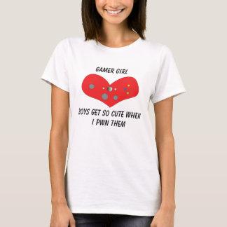 Menina Pwns do Gamer bonito Camiseta