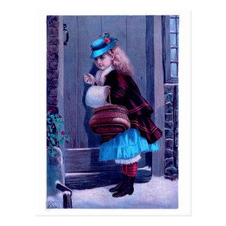 Menina que bate na pintura do vintage da porta cartão postal