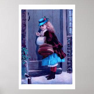 Menina que bate na pintura do vintage da porta pôster
