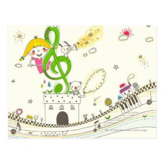 Menina que joga com notas musicais na casa cartao postal