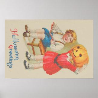 Menina que Scaring a lanterna de Jack O do livro Poster
