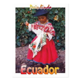 menina Quechua do cartão de Equador do vintage