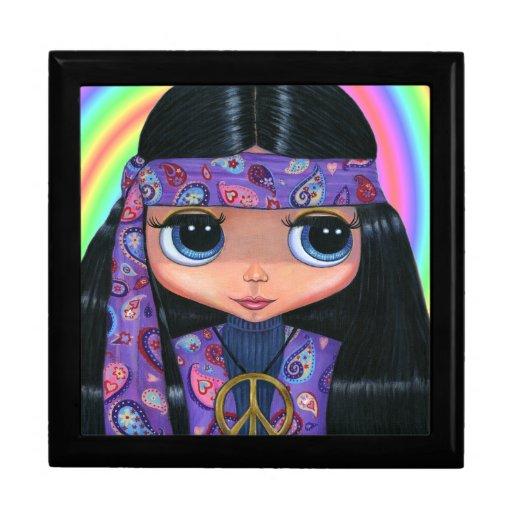Menina roxa do Hippie de Paisley com olhos grandes Caixa De Presente