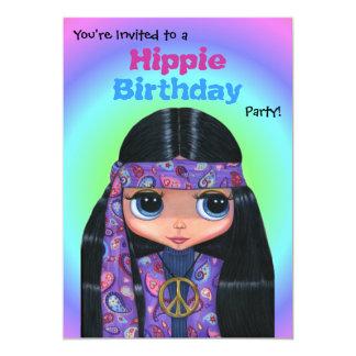 Menina roxa do Hippie de Paisley da festa de Convite 12.7 X 17.78cm
