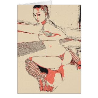 """Menina """"sexy"""" na lingerie, meias altas do joelho cartão comemorativo"""