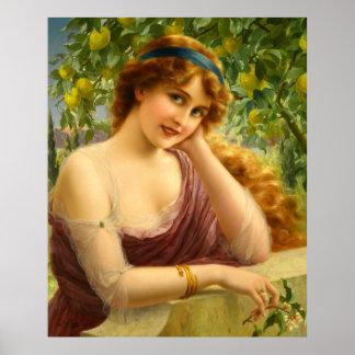 Menina sob o poster da árvore de limão