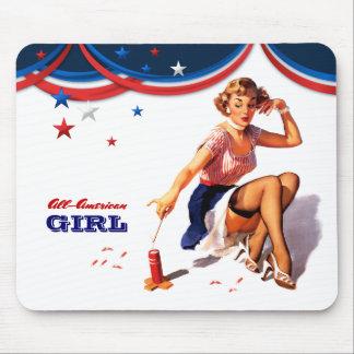 Menina Todo-Americana. Presente Mousepads do