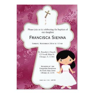 Menina transversal do comunhão santamente convites personalizados