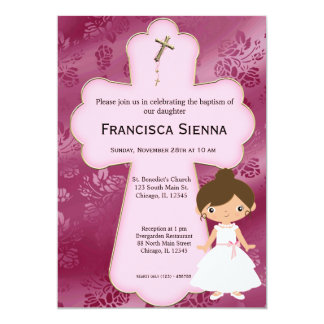 Menina transversal do comunhão santamente convite personalizado