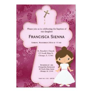 Menina transversal do comunhão santamente convite 12.7 x 17.78cm
