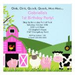 Meninas animais do rosa da festa de aniversário do convites