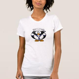 Meninas/camisa do marinheiro pinguim das mulheres camiseta