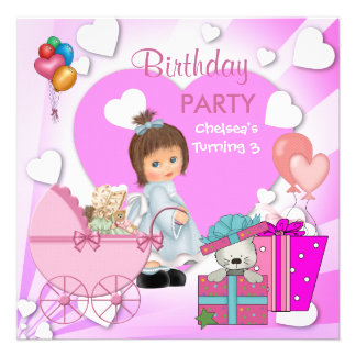 Meninas cor-de-rosa bonitos dos corações do partid convites personalizado