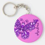 Meninas da borboleta cor-de-rosa e chaveiro conhec