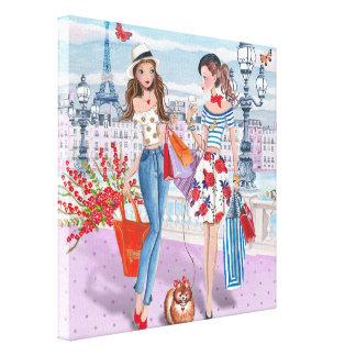 Meninas da compra em Paris - canvas