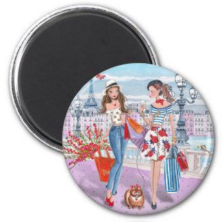 Meninas da compra no ímã de Paris | Ímã Redondo 5.08cm