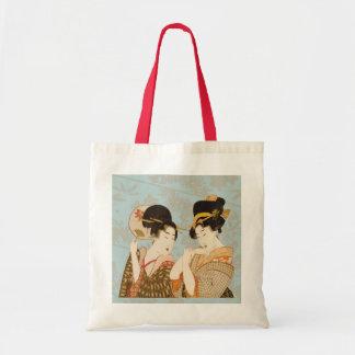 Meninas de gueixa japonesas do vintage nos sacola tote budget