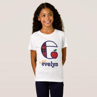 Meninas de volta à camisa do monograma e da escola