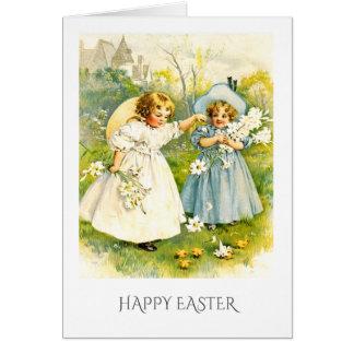 Meninas do vintage com galinhas. Cartões da páscoa