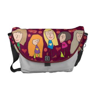 Meninas dos desenhos animados vermelhas bolsa mensageiro