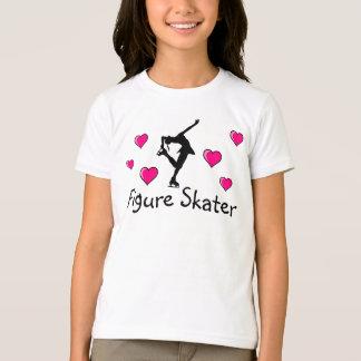 Meninas, figura camisa do patinador & corações