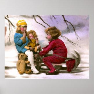 Meninas francesas que jogam com seus brinquedos na poster