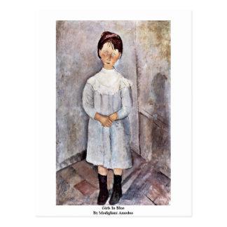 Meninas no azul por Modigliani Amedeo Cartão Postal