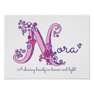 Meninas nome da letra N de Nora e poster do