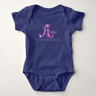 Meninas nome de Ava & roupa do bebê da letra A do Body Para Bebê